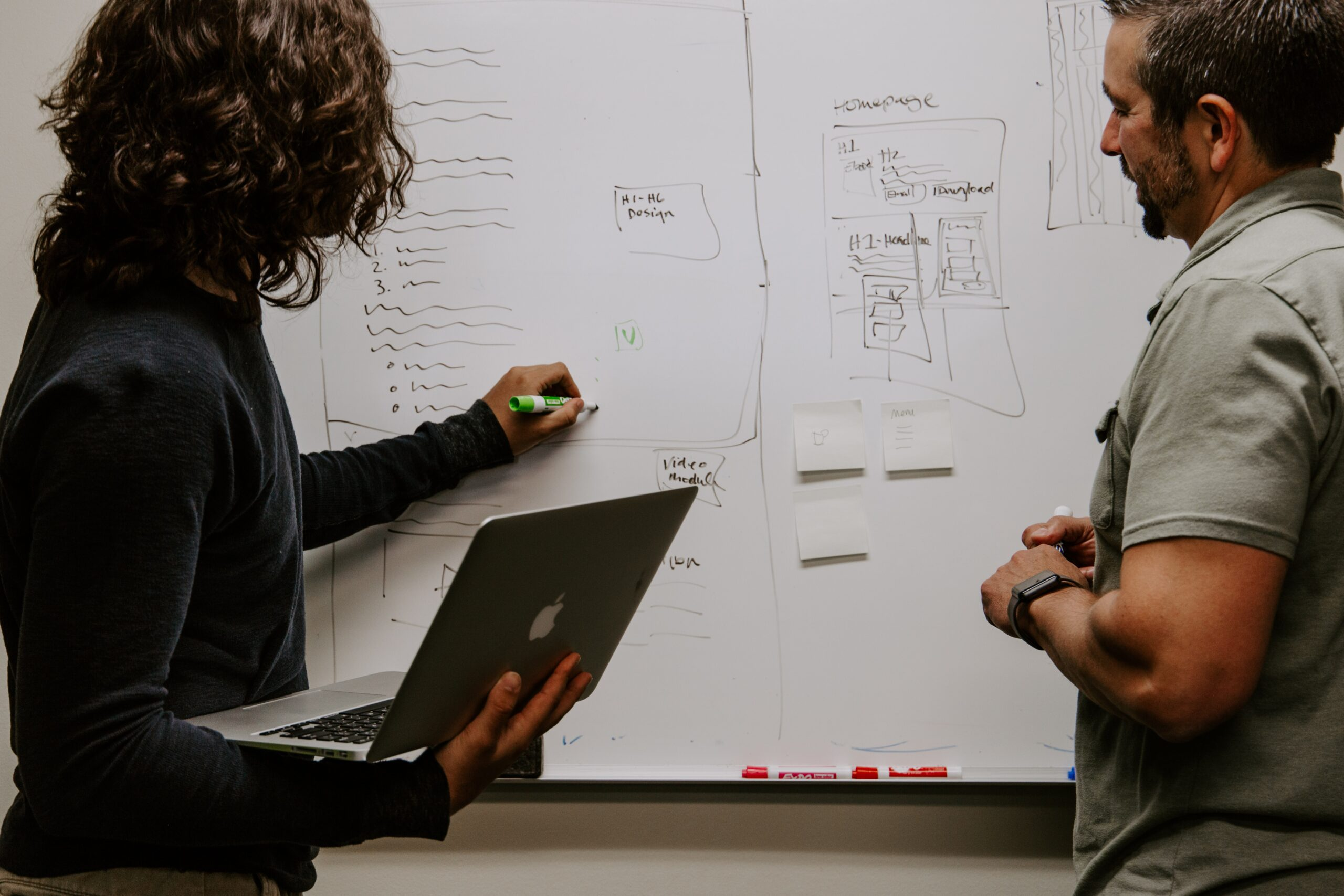 Photo of people at a white board discussing business ideas
